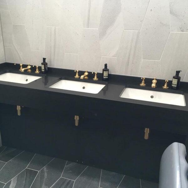 Modern Dark Public Bathroom